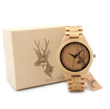 BOBO BIRD Deer Engraved Mens Wood Bamboo Watch