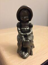 "1977 Holly Hobbie ""Sweet Dreams� solid cast fine pewter miniature figurine"