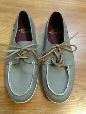 Vans California Canvas & Leather Lace Gray Skating Loafers Boat Shoes Size 6. 2J