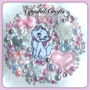 Disney Aristocats Marie Theme Cabochon Crystal Gem & pearl flatbacks decoden  #2