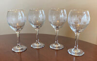 """4 Luminarc Gold Rim WINE GLASSES GOBLETS Etched CHRISTMAS SLEIGH RIDE 7 3/4"""""""