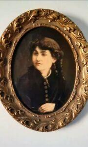 Antico ritratto di giovane Nobil donna . Firmato Massaza