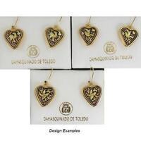 Damascene Gold Heart Bird Drop Earrings by Midas of Toledo Spain style 8115Bird