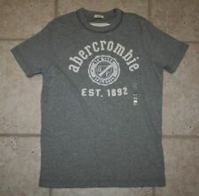 Nwt Abercrombie Boys Medium Muscle Fit Ss Grey Athletic T-Shirt - Last One!