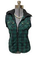 Chaps Vest Tartan Plaid Fleece Full Zip Vest  Long Winter Size Petite M