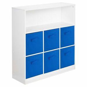 Wooden White 7 Cubed Cupboard Storage Unit Shelves 6 Dark Blue Drawers Baskets