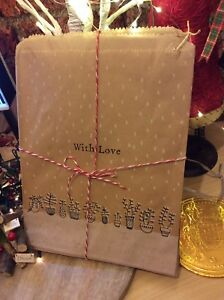 15 x With Love East of India Kraft Gift Party Paper Bags With Love Christmas Bag