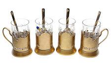 GOLD Set of 4 Russian Vintage Crystal Tea Glass & Handmade Holder Podstakannik