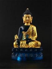 Tibet Medicine Buddha in Golden Paint Resin Sculpture