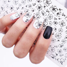 Black Line Flower Water Decals Nail Art Transfer Stickers Simple Drawing Decor