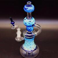 Blue Pattern Glass Water Pipes Bong Bubbler Hookah Ice Catcher Filter Handmade