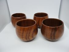 4 Pack Small Wood Cups Hot Coffee Tea Drink Single Shot Wine Wooden Coated Mugs