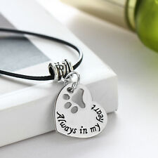 Dog Pet Paw Necklace Pendant Charm Jewelry Always In My Heart Gothic Leather New