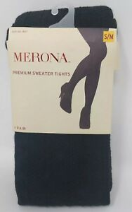 Merona Black Cable S/M Women's Tights Opaque Low Rise New