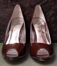 Brown Patent Leather Heel with Peep Toe by Marc Fisher, Size 7.5, NWB