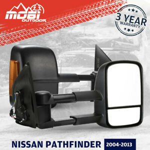 MOBI Extendable Towing Mirrors Fit NISSAN Pathfinder 2004-2013 Indicator Black
