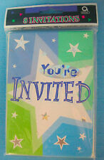 You're Invited Invitations Birthday Shimmer Bright Color Stars Design Amscan
