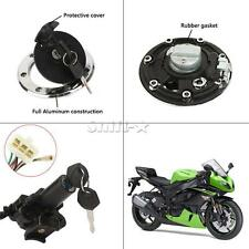 Ignition Switch Lock Fuel Gas Cap Cover Kit For Kawasaki ZX-6R 2000-2001 2002