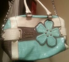 GUESS Aqua And White Patent Leather Handbag Tote Purse Chain Shoulder strap