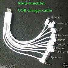 Universal 10 In 1 Multi-Function USB Charger Cable For iPhone Samsung Nokia PSP
