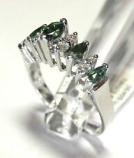 NATURAL MARQUISE CUT EMERALD & DIAMOND RING 14K WHITE GOLD sz7