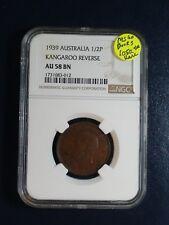 1939 AUSTRALIA HALF PENNY NGC AU58 BN 1/2P KANGAROO REV Coin PRICED TO SELL NOW!