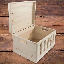 Caja de almacenamiento de gran tamaño Decorativos De Madera Con Tapa Y Manijas Sin Pintar tronco en el pecho
