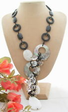 """21.5"""" Onyx Crystal Shell Necklace"""