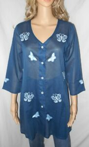 April Cornell M NEW Blue Butterfly Embroidered Tunic Shirt Sheer Top