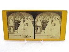 Vintage Stereoview Stereoscope Card - The Wedding - Bride Groom Flower Girl