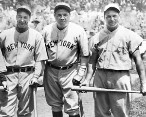 """Lou Gehrig, Babe Ruth & Jimmie Foxx- 8"""" x 10"""" Photo- 1934 All-Star- Polo Grounds"""