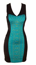 Color Block Front Bedazzled Rhinestone V-Neck Cross Cutout Back Cocktail Dress M
