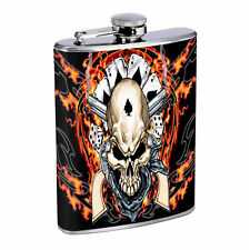 Flask 8oz Stainless Steel Skull D 11 Outlaw Gambler Flames Whiskey
