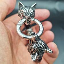 Mens Stainless Steel Leather Rope Wolf Wolfs Head Viking Runes Rune Bracelet