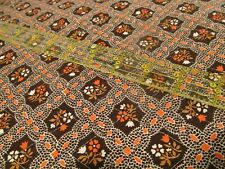 PreQuilted Fabric Vtg 70s brown floral white BTHY half yard cut