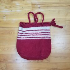 Handmade Wool Knit Tote Purse Handbag Adjustable Strap Boho Hippie Holiday