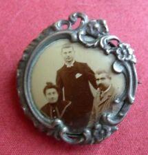 superbe broche ancienne porte photo art nouveau 1900 argent 5gr silver broch