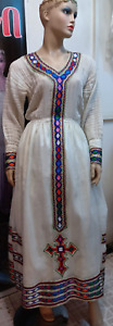 Ethiopian traditional dress, hand made 100% cotton w Lining & full scarf /Netela