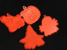 Hallmark Halloween Fall Plastic Cookie Cutter Set Of 4 Ghost Witch Cat Pumpkin