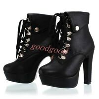 Womens Shoes Chunky Heels High Top Lace Up Ankle short Boots British style Hot