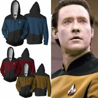 Star Trek Voyager Commander Captain Zip Hoodie Costume Men Jacket Sweatshirt Top