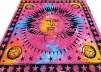 Sun Moon Bedspread Cotton Batik Wall hanging Hippy Bohemian Queen Cotton Throw B