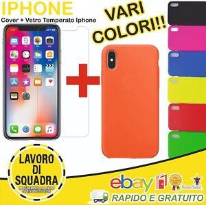COVER CUSTODIA in TPU + VETRO TEMPERATO per Iphone 6 6S 7 8 X XS VARI COLORI
