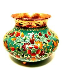 Copper Footed Vase Rare Artefino Mexico Hand Painted Colorful Floral Butterfly