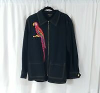 Bob Mackie Wearable Art Black Zip Up Jacket with Embroidered Parrot Size 1X