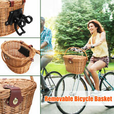 Portable Wicker Bike Basket Brown Leather Adjustable Strap Bicycle/Shopping