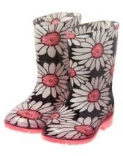 GYMBOREE KITTY IN PINK BLACK w/ WHITE & PINK DAISY RAIN BOOT 10 NWT