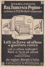 Z3598 Letti in ottone Rag. Pepino - Torino - Pubblicità d'epoca - 1927 old ad