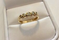 Stunning Ladies Solid 18 Carat Gold Five Stone Champagne Diamond Ring - N 1/2