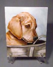 Hand Painted Artist Original Golden Retriever Puppy Dog Tile Plaque - Precious!